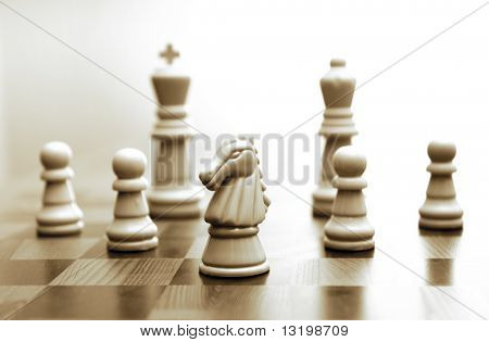 Game of chess toned in sepia