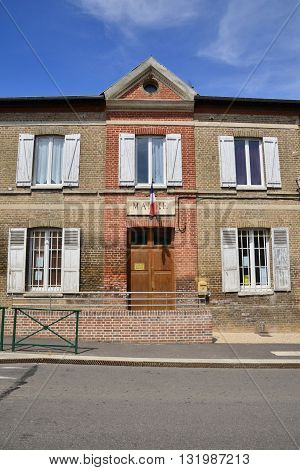Harquency France - august 10 2015 : the city hall in summer