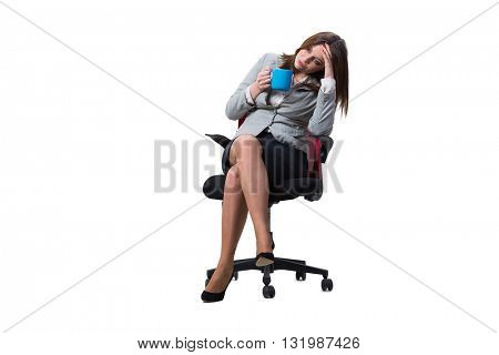 Businesswoman sitting isolated on white background