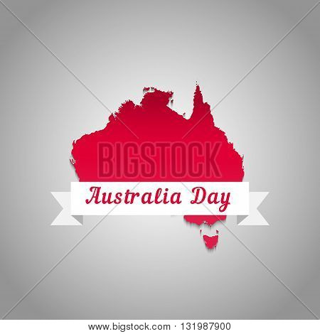 Map of Australia red. Illustration to the Australia Day for printing postcards t-shirt poster.