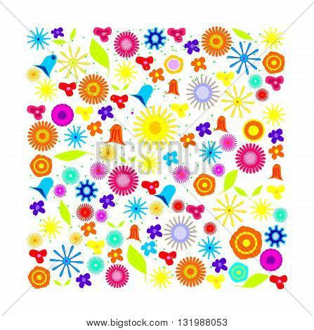 Floral background with flowers - vector illustration.