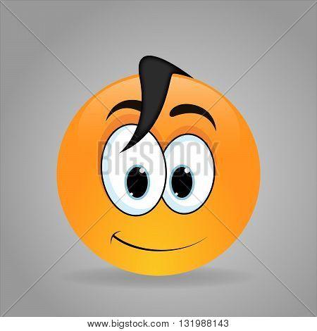 Smiling emoticon cute eyes. Happy manga face.