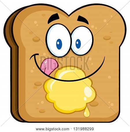 Happy Toast Bread Slice Cartoon Character Licking His Lips With Butter