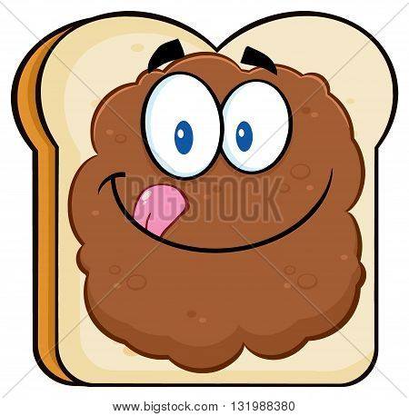 Toast Bread Slice Cartoon Character Licking His Lips With Peanut Butter