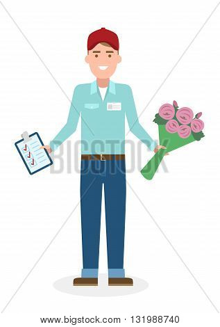 Delivery man with flowers. Fast transportation. Isolated cartoon character on white background. Postman, courier with clipboard and bouquet.