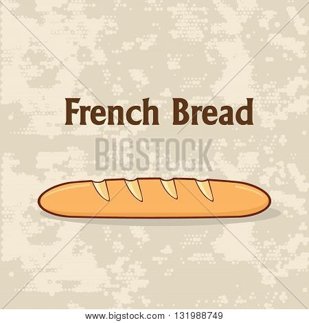 Cartoon French Bread Baguette Poster Design With Text. Illustration Background
