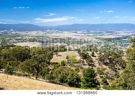 The view over Yarra Glen on a warm summer's day in Victoria, Australia