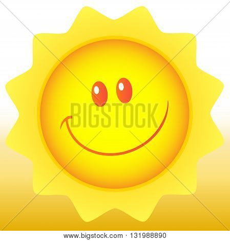 Happy Sun Cartoon Mascot Character. Illustration With Background