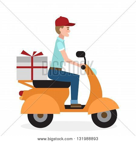 Delivery man on scooter. Fast transportation. Isolated cartoon character on white background. Postman, courier with parcel on motorbike.