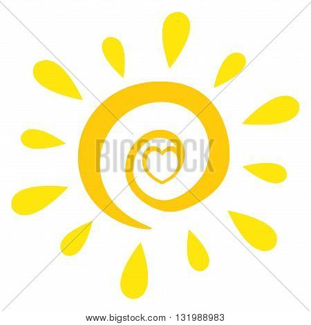 Abstract Sun With Heart Simple Design. Illustration Isolated On White Background
