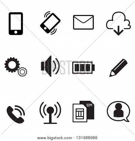smartphone basic app icons set graphic design collection