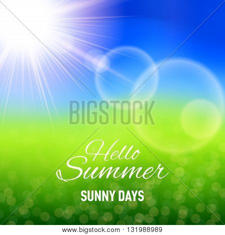 Defocused summer background with glaring sun and lens flare
