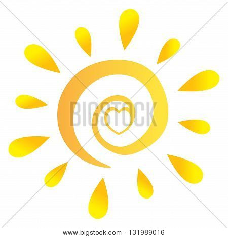 Abstract Sun With Heart In Gradient. Illustration Isolated On White Background