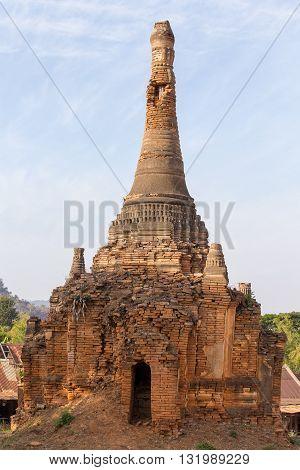 Ancient pagoda during sunset in Bagan Myanmar Burma