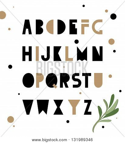 Abstract geometry alphabet. Hipster Style for fashion. Simple uncluttered font made by hand.