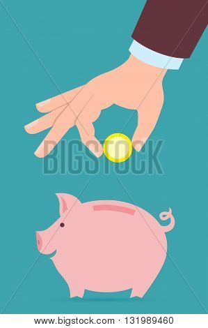 Hand with coin and piggy bank. Hand holding coin. Concept of savings, earnings. Collect to pig bank.