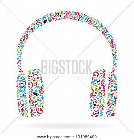 Headphones made of music notes. Colorful notes pattern. Black and white design. Earphone shape. Poster and decoration idea.