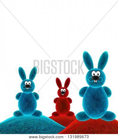 Color rabbit. Rabbit cartoon. 3d Illustration.