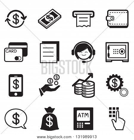 Finance & banking icons credit card atm Illustration Vector Symbol