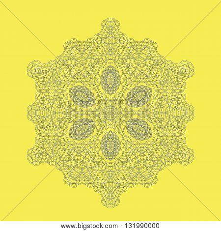 Round Geometric Mandala Ornament Isolated on Yellow Background