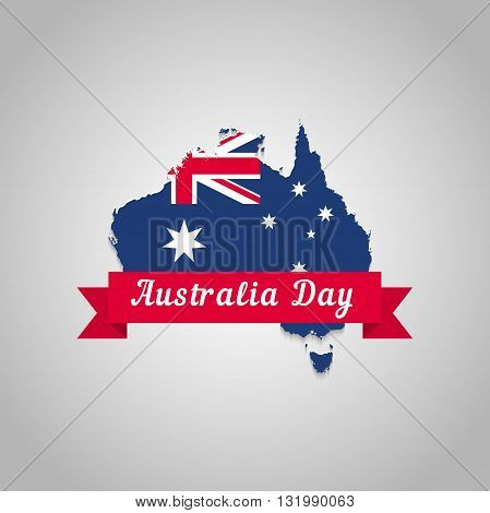 Map of Australia national flag. Illustration to the Australia Day for printing postcards t-shirt poster.