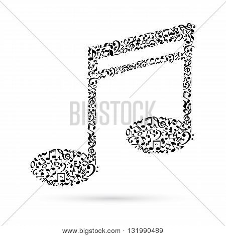 Music note made of music notes on white background. Black notes pattern. Note shape. Poster and decoration idea.