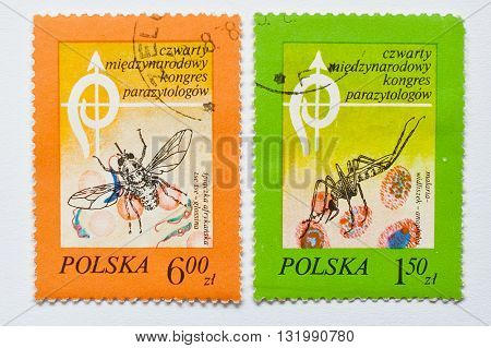 Uzhgorod, Ukraine - Circa May, 2016: Collection Of Postage Stamps Printed In Poland, Shows 4Th Inter