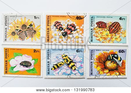 Uzhgorod, Ukraine - Circa May, 2016: Collection Of Postage Stamps Printed In Hungary, Shows Differen