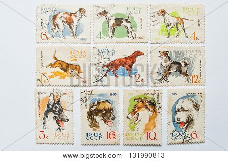 Uzhgorod, Ukraine - Circa May, 2016: Collection Of Postage Stamps Printed In Ussr Shows Different Ty