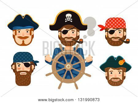 Pirate at the helm of ship. Corsair. Funny sailor. Cartoon flat design