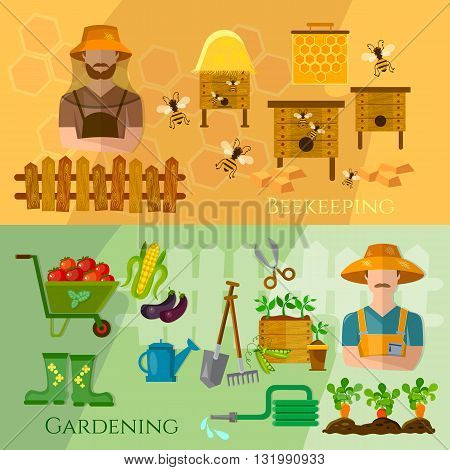 Gardening and beekeeping banner seedling cultivation vector illustration