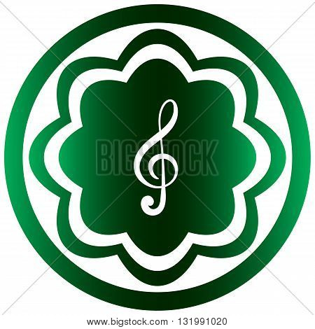 Green icon the button with a music note