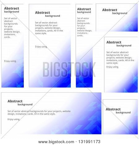 Set of banners with blue decoration. Abstract pattern. Background for banner. Nine banner templates.