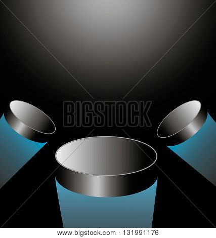 three hockey puck flying into the light in the center vertical