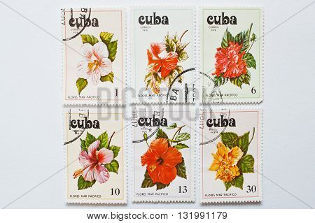 UZHGOROD UKRAINE - CIRCA MAY 2016: Collection of postage stamps printed in Cuba shows different flores