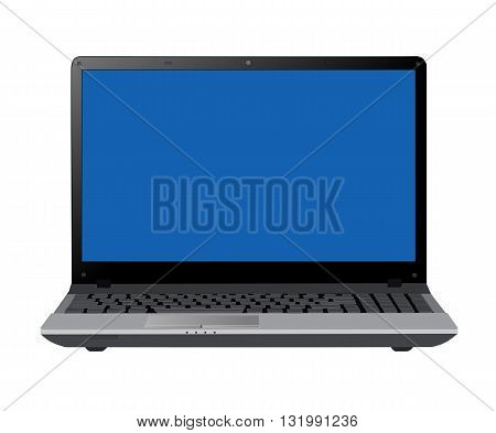 Gray Opening laptop - modern vector illustration.