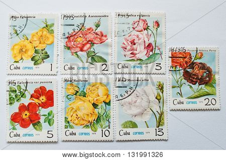 Uzhgorod, Ukraine - Circa May, 2016: Collection Of Postage Stamps Printed In Cuba, Shows Different R