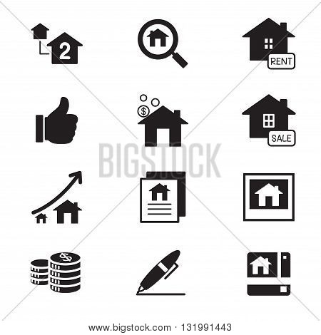 silhouette Real estate icons Illustration symbol Vector