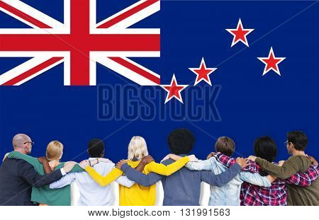 New Zealand National Flag Teamwork Diversity Concept