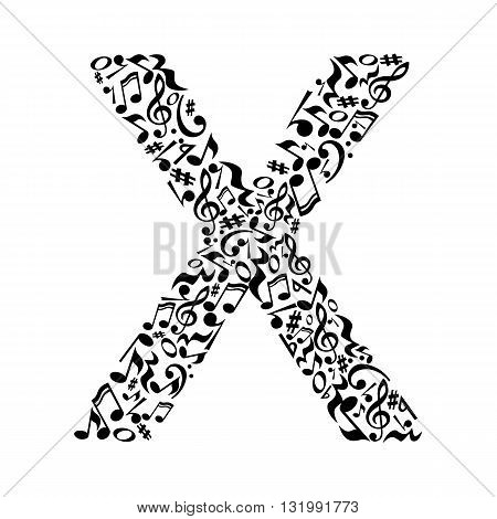 X letter made of musical notes on white background. Alphabet for art school. Trendy font. Graphic decoration.
