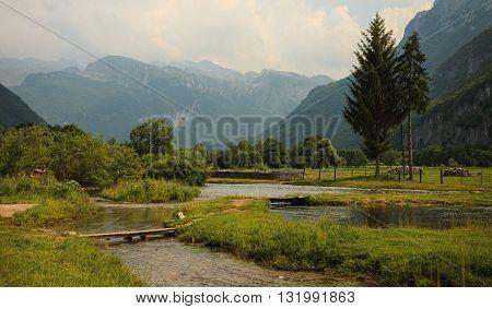 Landscape around Ali-Pasha Springs near Prokletije national park in Gusinje Montenegro