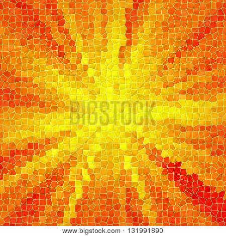 mosaic yellow and orange pattern texture background with yellow grout - sun on orange