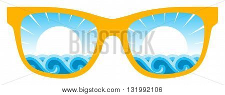 vector waves and sun in sunglasses isolated on white background