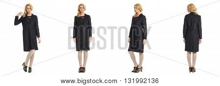 Full Length Portrait Of Beautiful Women In Overcoat