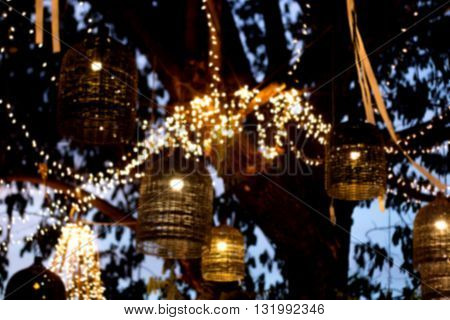Lamp Decoration Garden On Tree At Night Time