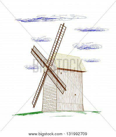 Old rural windmill, drawing design - vector illustration.