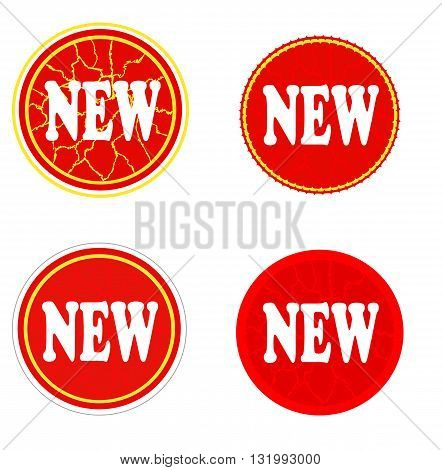 Red sale stickers with white crack - vector illustration.