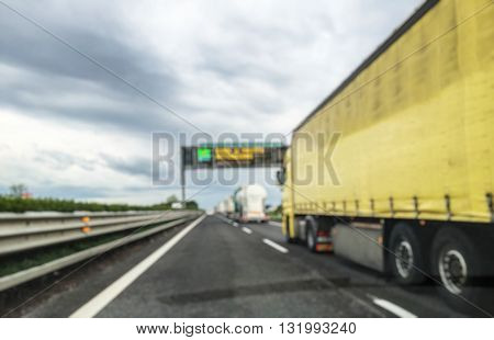 Abstract blurry background: Traffic jam on highway
