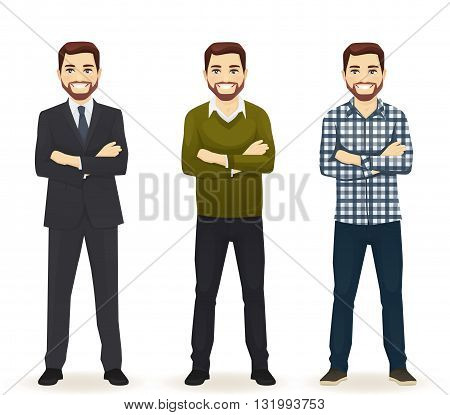 Smiling hadsome man in different style clothes with arms crossed standing isolated on white background