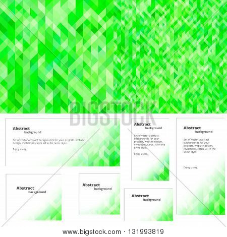 Abstract background in shades of green. Suitable for web site postcards envelopes. Set of banners in the same style.